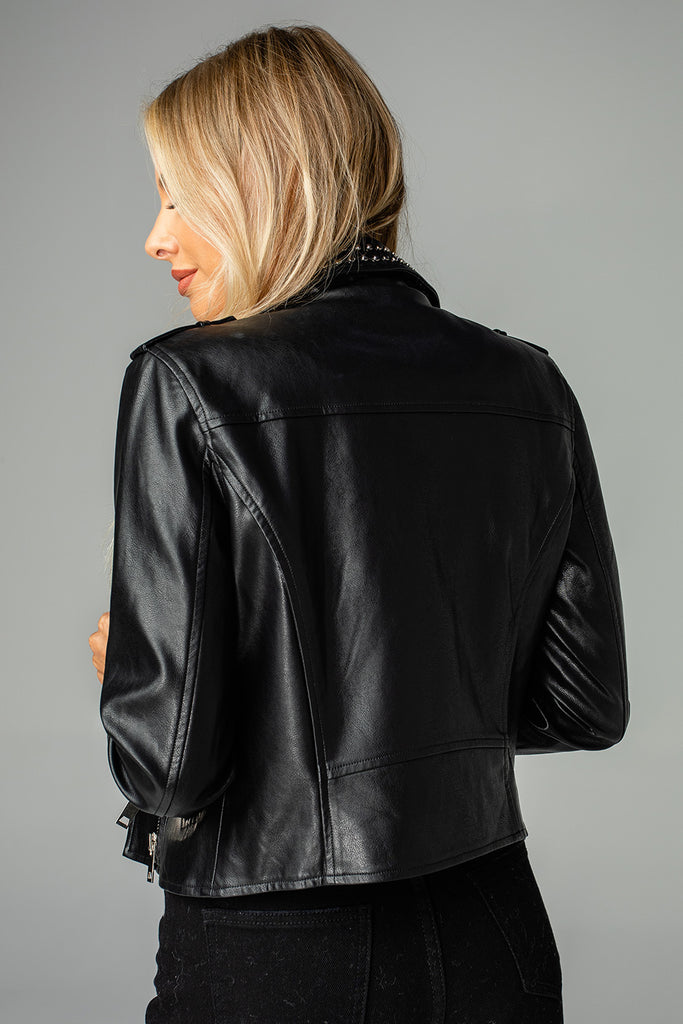 Trish Vegan Leather Studded Jacket - Black
