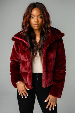 Charlie Puffy Fur Jacket - Wine