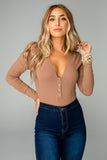 Alexa Button Front Ribbed Bodysuit - Mocha