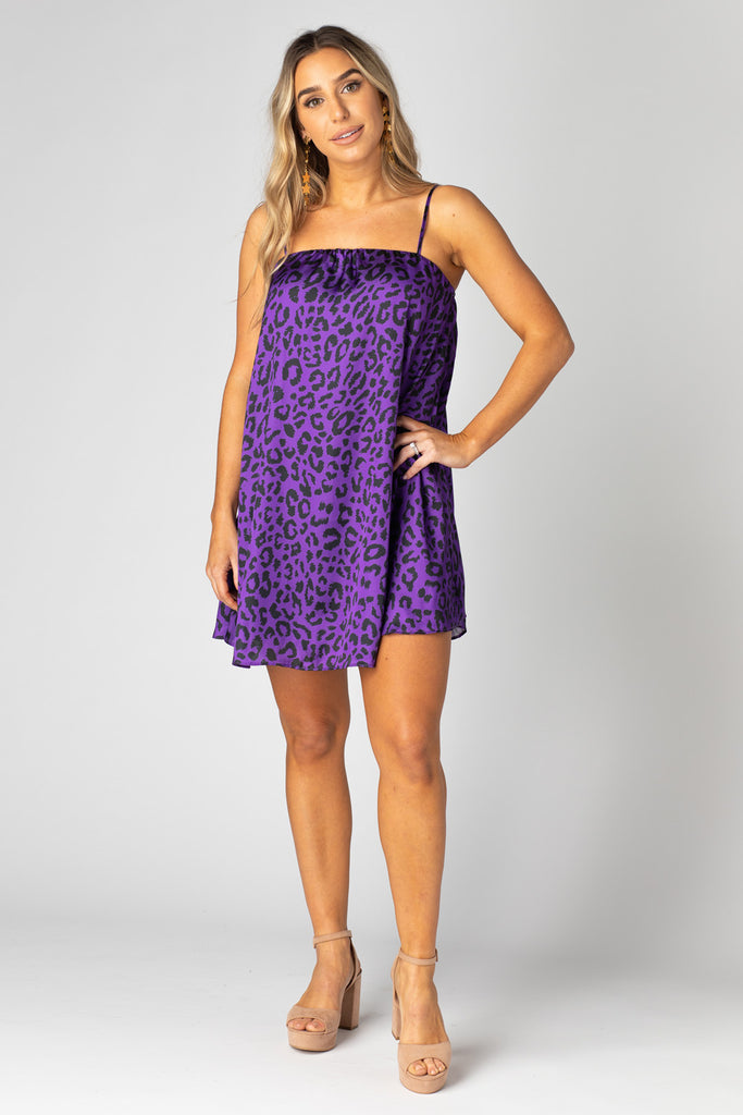 Sandra Swing Mini Dress - Purple Cat