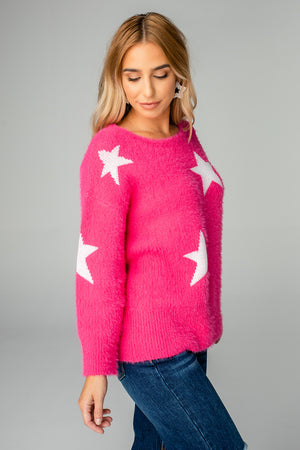 Spears Fuzzy Sweater - Pink