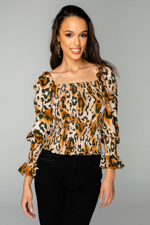Cassie Smocked Long Sleeve Top - Lioness