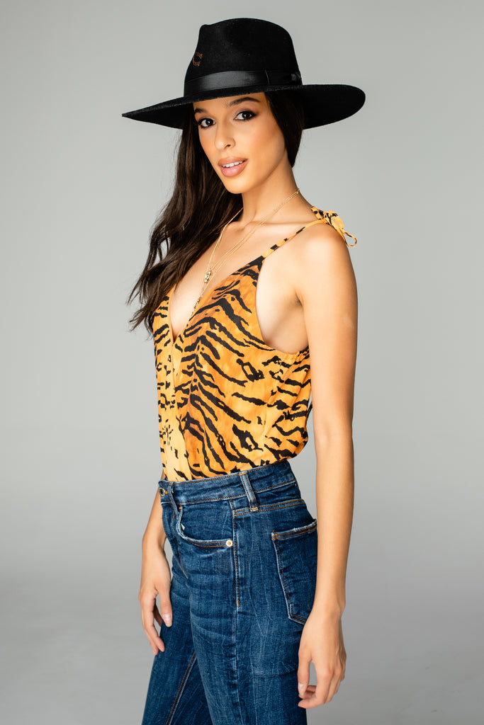 Crystal Tie Shoulder Surplice Bodysuit - Bengal