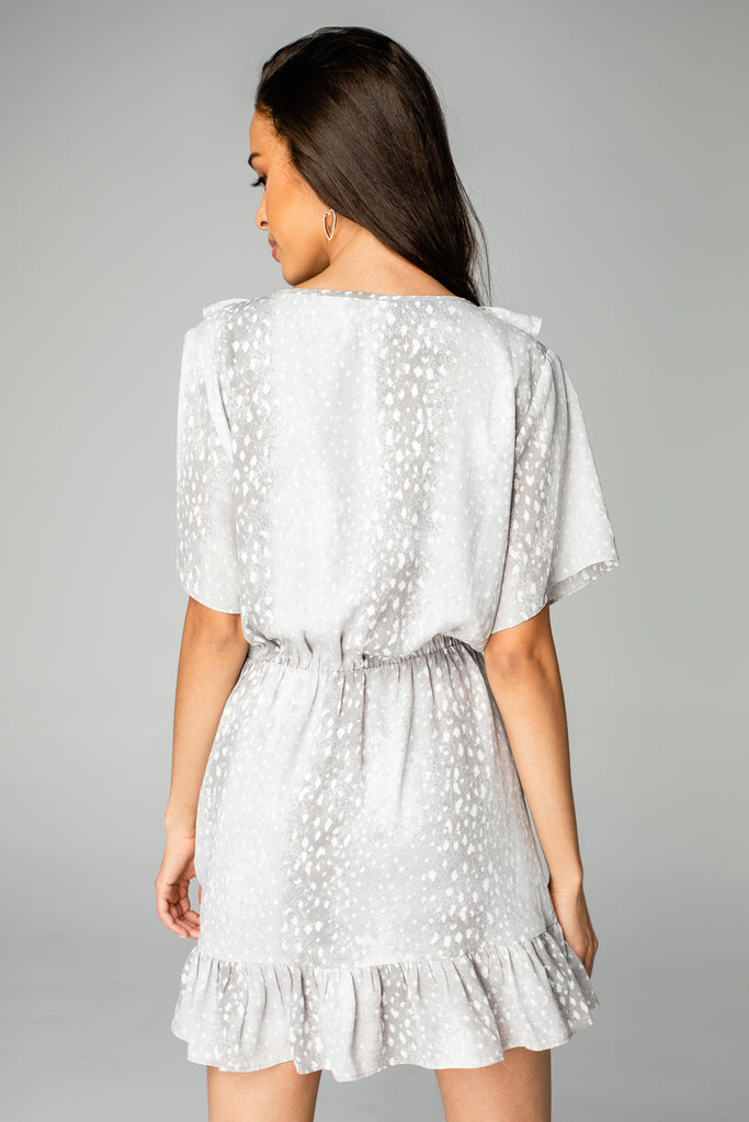 Trixy Ruffled Mini Dress - Doe