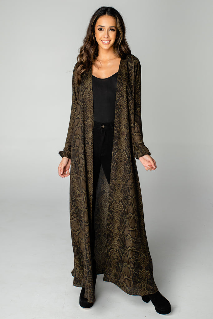 Stoney Long Sleeved Duster - Olive