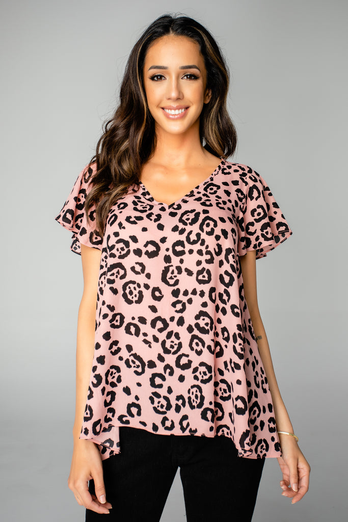 Avril Flutter Sleeve V-Neck Top - Whiskers