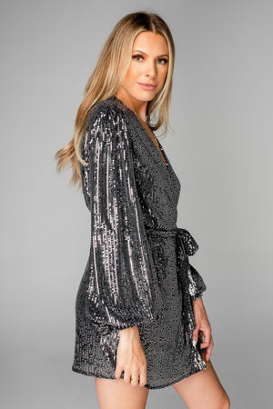 Adeline Sequin Wrap Dress - Black (Pre-Order)