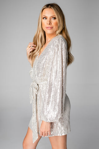 Adeline Sequin Wrap Dress - Silver