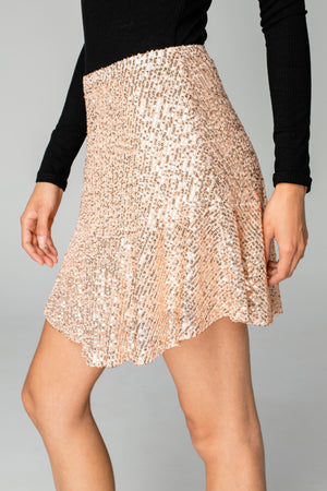 Reba Sequin Mini Skirt - Rosegold