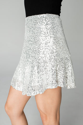 Reba Sequin Mini Skirt - Silver