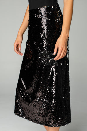 Cardi Sequin Midi Skirt - Black