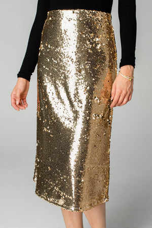 Cardi Sequin Midi Skirt - Gold
