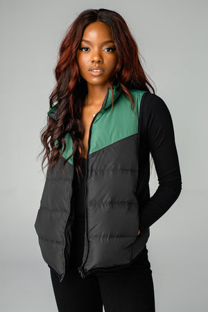 Tanya Two Tone Puffer Vest - Black/Green