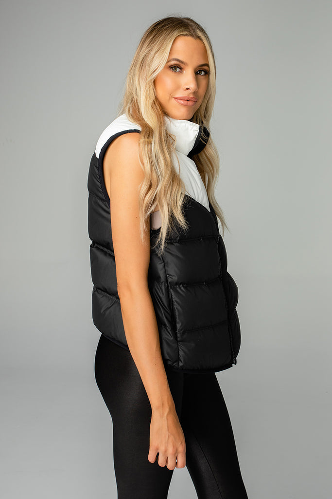 Tanya Two Tone Puffer Vest - Black/White