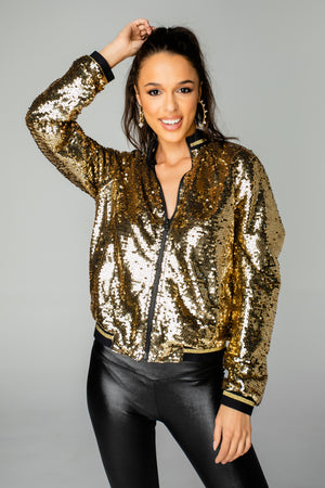 Paris Sequin Bomber Jacket - Gold