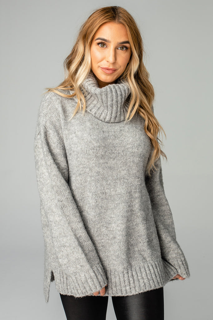 Karen Turtleneck Tunic Sweater - Heather
