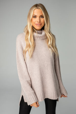 Karen Turtleneck Tunic Sweater - Mocha
