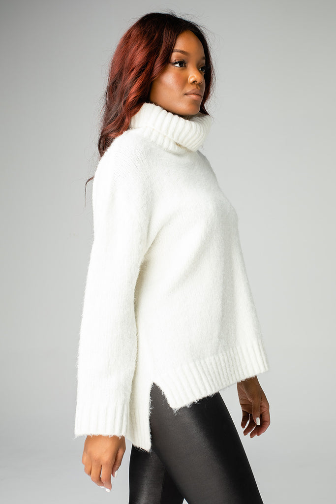 Karen Turtleneck Tunic Sweater - White