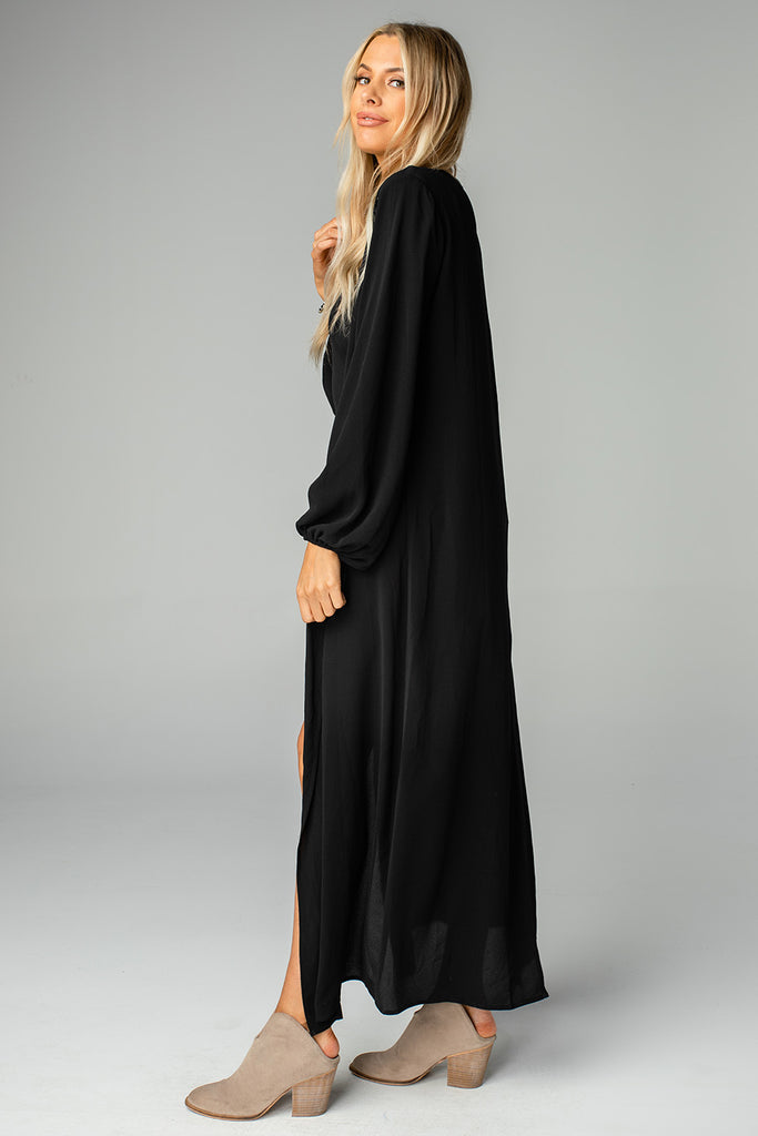 Loretta Long Sleeve Duster - Black