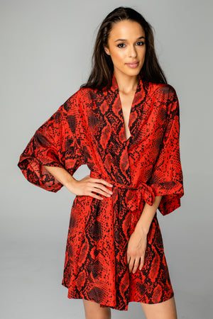 Hadid Short Sleeve Tie Closure Robe - Lava Rock