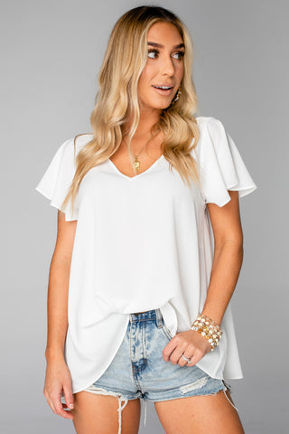 BuddyLove Avril Flutter Sleeve V-Neck Top - White