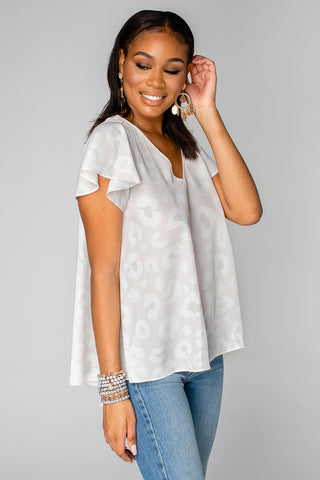 BuddyLove Avril Flutter Sleeve V-Neck Top - Vanilla