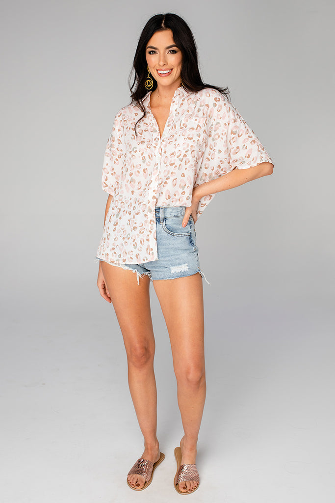 Perry Oversized Button Up Top - Gold Lion