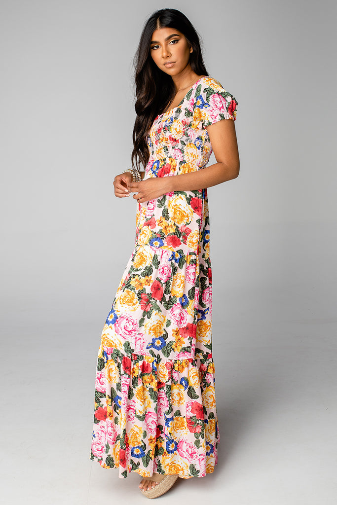 Hattie Smocked Maxi Dress - Monet