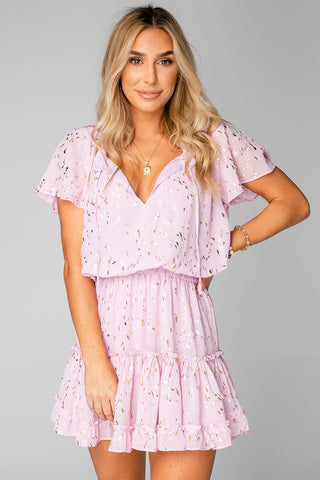 Roxy Flutter Sleeve Mini Dress - Carnation