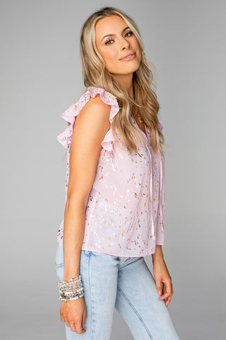 Victoria Ruffled Sleeve Top - Carnation