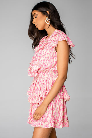 Astrid Ruffled Front Mini Dress - Pink Lady