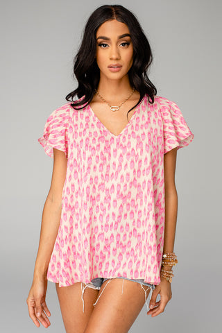 Avril Flutter Sleeve V-Neck Top - Pink Lady