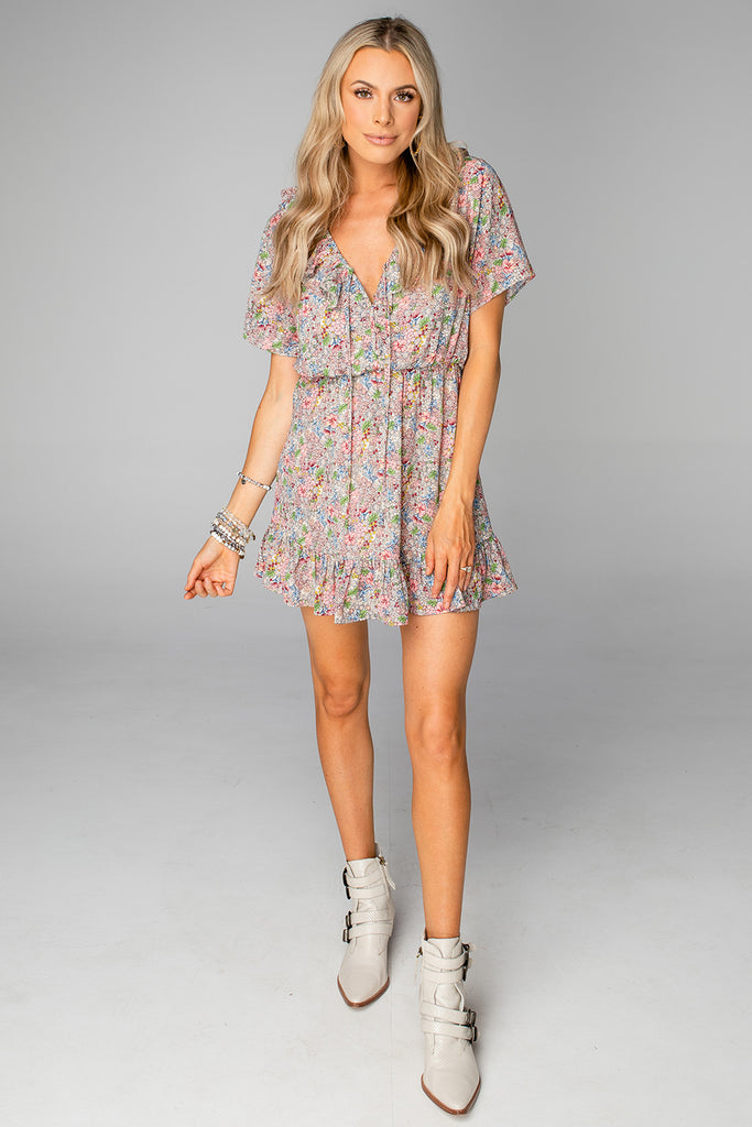 Trixy Ruffled Mini Dress - Woodstock