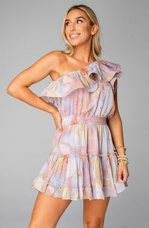 Sofia One Shoulder Ruffled Cocktail Dress - Taurus