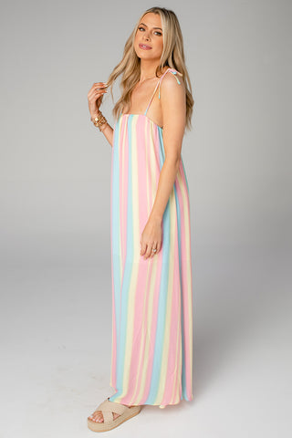 Barton Tie Shoulder Maxi Dress - Snow Cone (Pre-Order)