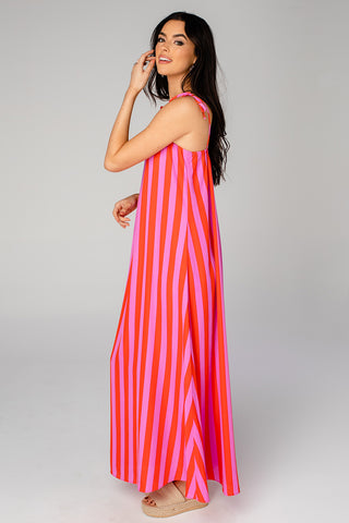 Barton Tie Shoulder Maxi Dress - Hot Tamale