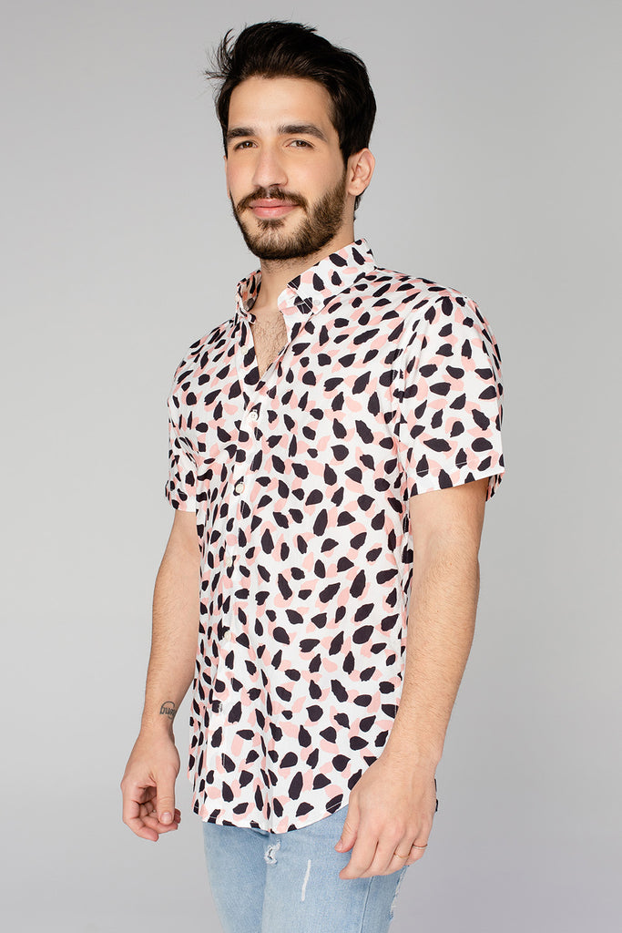 Robert Button Down Dress Shirt - Flamingo