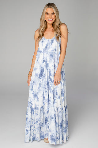 Katey Scooped Neck Maxi Dress - Blue Clouds