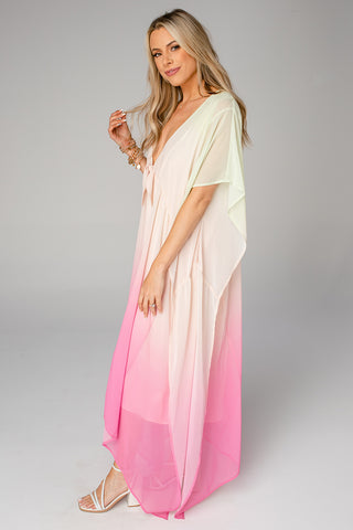 Mamie Caftan Maxi Dress - Papaya (Pre-Order)