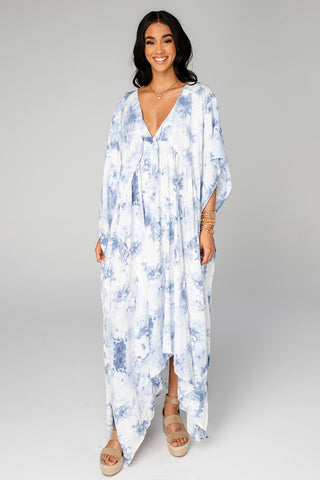 Mamie Caftan Maxi Dress - Blue Clouds