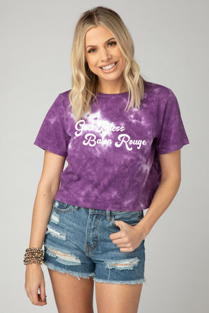 Cousins Tie-Dye Cropped Tee - God Bless Baton Rouge