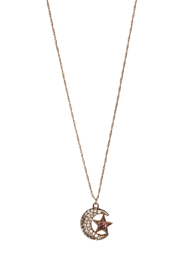 Galaxy Moon and Star Necklace - Gold