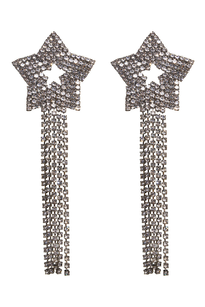 Gemini Star Drop Earrings - Silver