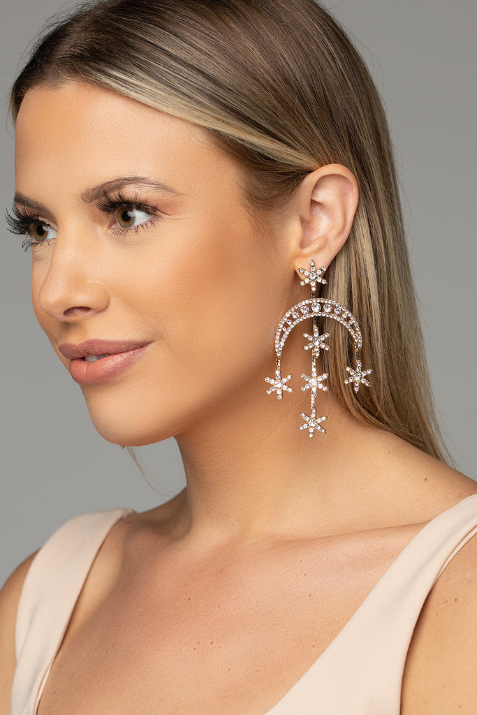Glitzy Statement Earring - Gold
