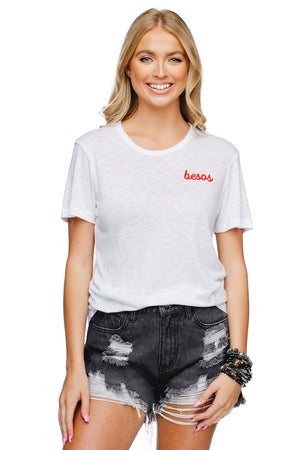 Harrison Heathered White Cotton Graphic Tee - Besos
