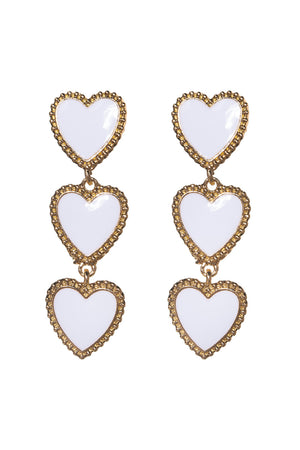 Heart Drop Earring - White
