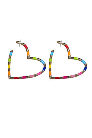 Heart Hoop Earring - Rainbow