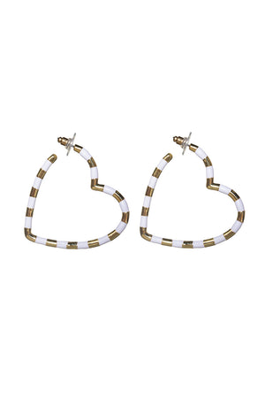 Heart Hoop Earring - White