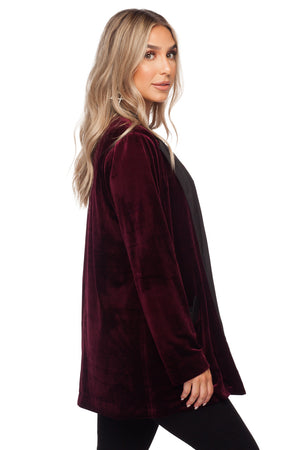 Hugh Loose Solid Velvet Blazer - Wine