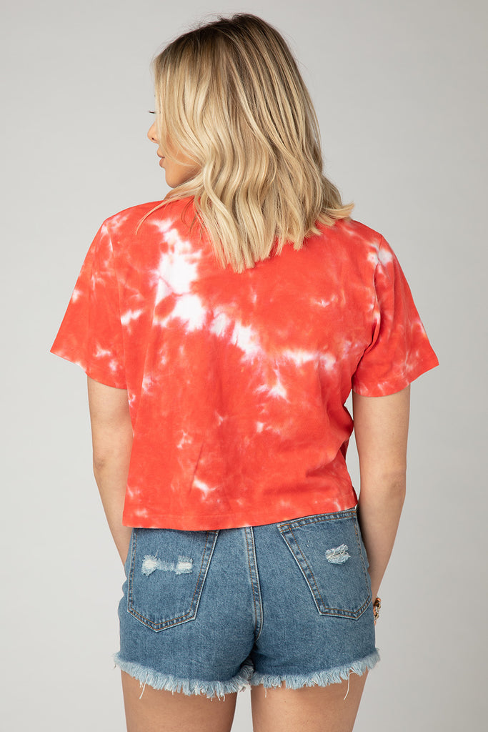 Julie Tie-Dye Cropped Tee - Red